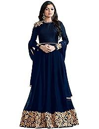 Feni Creation Women's Dress Material(Madhubala_Long_Navy_Blue_Gown_Dark_Blue_Free Size)
