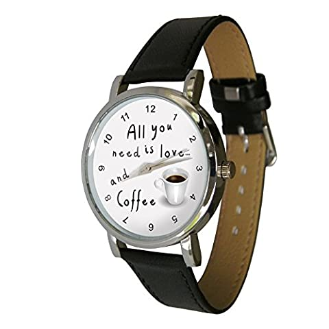 All you need is love & Coffee design watch with a genuine leather strap