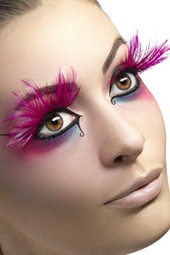 Falsche Wimpern mit Federn, Kleber enthalten, One Size, Pink, 24254 (Halloween Kostüme In 10 Minuten)