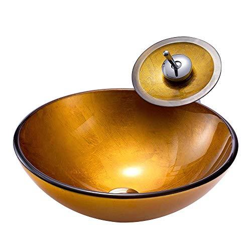 FJY Moderne Gold Becken runde gehärtetes Glas waschbecken mit Wasserfall Wasserhahn