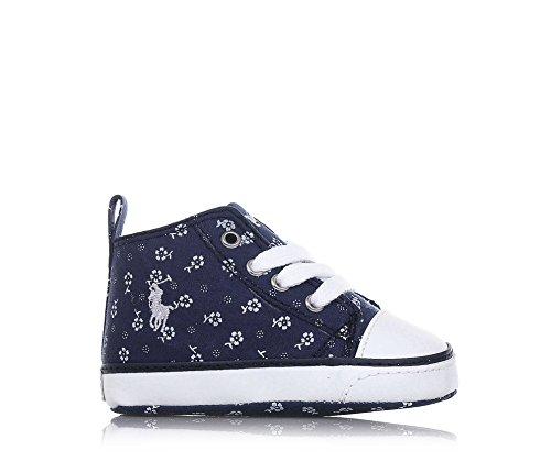POLO RALPH LAUREN - Blauer Schuh für die Wiege mit Schnürsenkeln aus Stoff, Blumendrücke, Ledereinsätze, Baby Jungen Blau