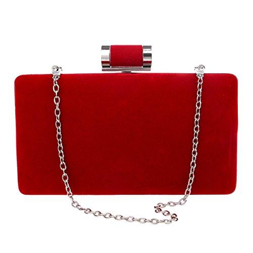 Wildleder Abendtasche Wunderschön Hochzeit Braut Abendtasche Handtasche Exquisite Süße Damen Kleine Quadratische Tasche Red