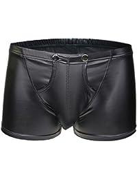 Herren Unterwäsche Leder Kimdera Männer Erotik Tanga Mens Reizwäsche Reizvolles Unterhosen Sexy Dessous String Boxershorts Retroshorts Shorts Boxer