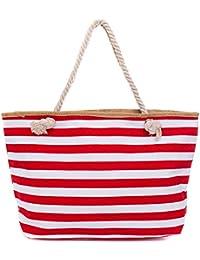 290c8f3076ae0 Faera Strandtasche Streifenmuster XXL Shopper Beach Bag mit breiter Kordel  Schultertasche