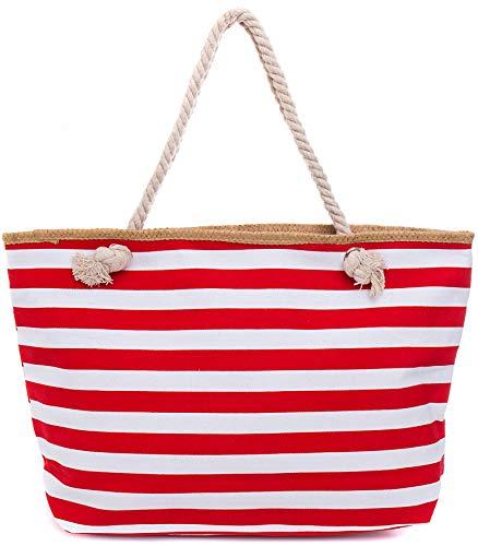 treifenmuster XXL Shopper Beach Bag mit breiter Kordel Schultertasche, Taschen Farbe:Rot ()
