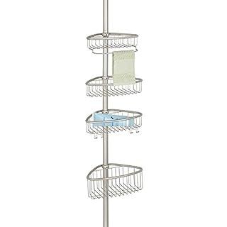mDesign Duschregal - ohne Bohren zu montierende Duschablage aus Metall - ideal für Shampoo, Rasierer, Schwämme und sonstiges Duschzubehör