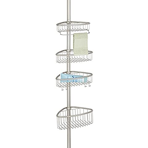 mDesign Constant Tension Bathroom Shower Caddy for Shampoo, Conditioner, Soap - Satin