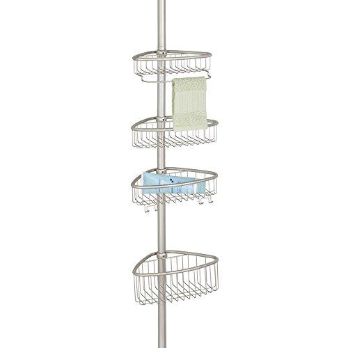 mDesign Teleskop-Duschregal - ohne Bohren zu montierende Duschablage aus Metall - ideal für Shampoo, Rasierer, Schwämme und sonstiges Duschzubehör
