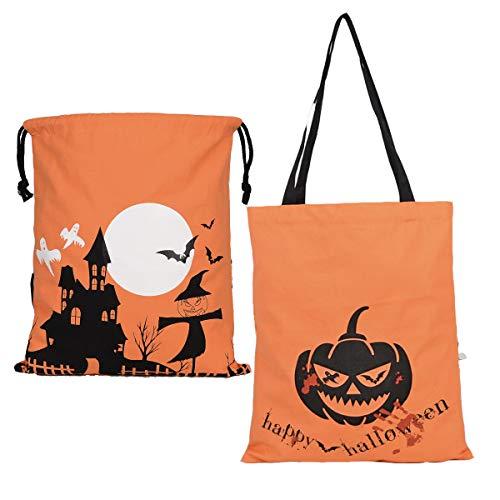 Halloween Stofftaschen Geschenktachen - 2 Verschiedene grueselige Designs - Taschen Perfekt für Trick or Treat