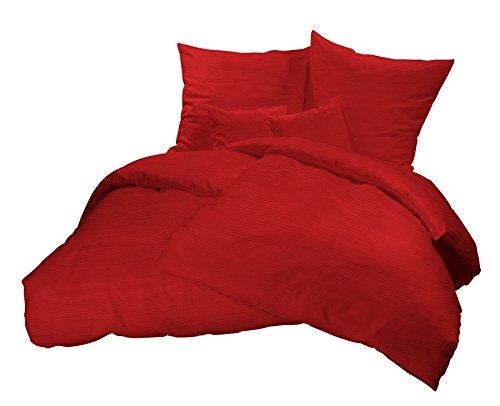 Leichte Bügelfreie Sommer-Bettwäsche in Uni Farben! Kühlende und Pflegeleichte Seersucker Bett-Bezüge aus 100% Baumwolle mit Reißverschluss - 135 x 200 cm, Rot