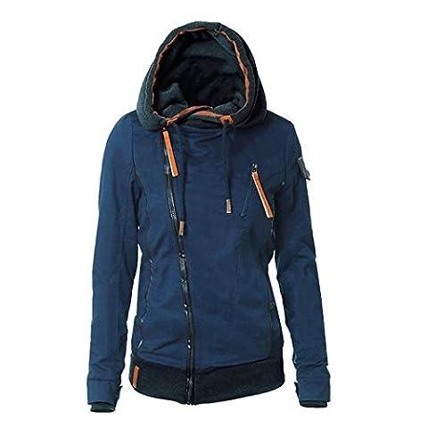 ♥♥ Bluester Fashion Women Hoodies Winter Coat Warm Zip Up Outerwear Sweatshirts Sport Suit Overcoats (L, Blue)