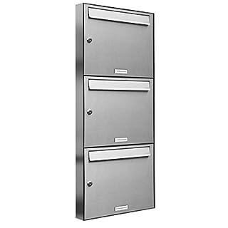 AL Briefkastensysteme 3er Briefkastenanlage Edelstahl, Premium-Briefkasten DIN A4, 3 Fach Postkasten modern Aufputz