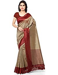 cdf8e012d7e593 Rajnandini Women s Tussar Silk Saree With Blouse Piece (JOPLNB3011 Free  Size)