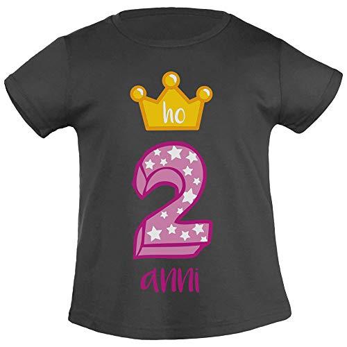 Buon Compleanno Ho 2 Anni Corona da Principessa T Shirt Maglietta Bambina