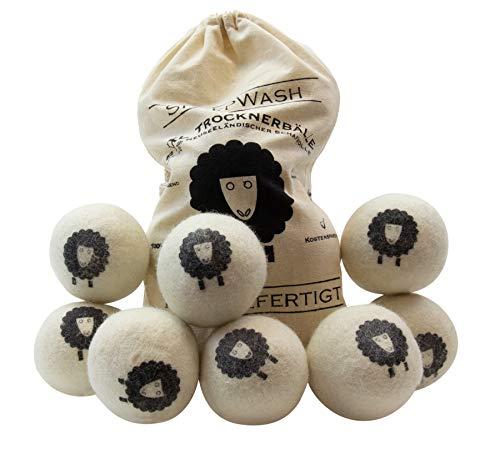 SheepWash 8er XXL Pack Trocknerbälle - Waschbälle als natürlicher Weichspüler aus 100% Neuseeländischer Premium-Schafwolle für den Wäschetrockner -