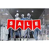 1 x wall window display sale sticker - sale bunting banner - white print on red vinyl cut out - self adhesive weather proof vinyl sticker label