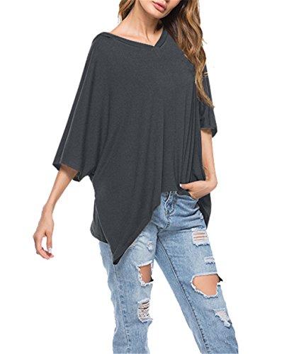 Aoliait Semplice Donna Casual Tunica Tops T-Shirt Comoda Basic Orlo Irregolare Camicia Maglietta Popolare Dark Gray