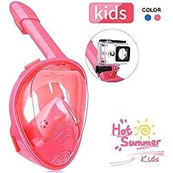 IMMEK Masque de Plongée, Masque Snorkeling Plein Visage 180° Visible, Antibuée Anti-Fuite sous-Marine, Snorkel Masque avec la Support pour Caméra de Sport, Adapté pour Enfant (Rose)