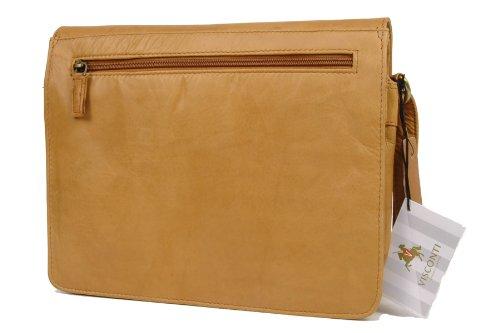 Organizer-Umhängetasche aus Leder von Visconti (754) - Größe: B: 27 H: 20 T: 8 cm Sandfarbenes