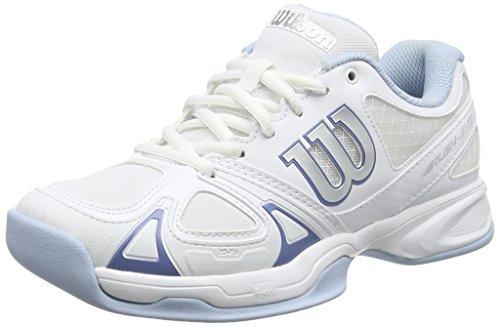 Wilson Scarpe da tennis da donna, Ideali per giocatrici di tutti i livelli, Per ogni terreno di gioco, RUSH EVO CARPET W, Tessuto/Sintetico, Bianco (White/White/Cashemere Blue), Misura: 37