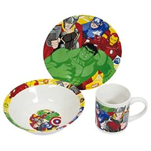 Boyz Toys Marvel Avengers 3 Piece Childrens Ceramic Table Dinnerware Set - Plate Bowl and Mug  sc 1 st  Amazon UK : monsters inc plate set - pezcame.com