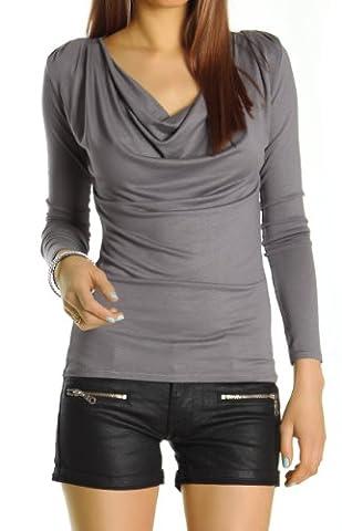 Bestyledberlin Damen Oberteil, Wasserfallausschnitt Longsleeve, Langarm Stretch Top, Basic Shirt t51p Onesize