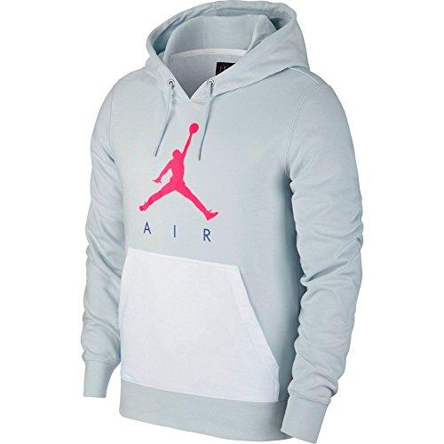 Nike Lightweight Pullover (Nike Jumpman Air LWT FLC PO, Sweatshirt mit Kapuze Herren M Pure Platinum/Bianco/Racer Pink)