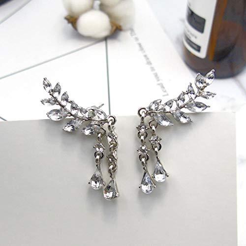Traditionelle Gold Leaf (Dibbons Leaf Crystal Ohrringe Ohrringe Ohrringe Flash Diamond Alloy Ohrringe Zubehör Silber)