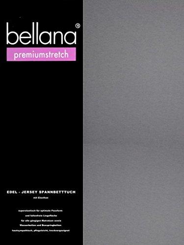 bellana® premiumstretch Edel-Elastic-Jersey Spannbetttuch für Wasserbetten und Boxspringbetten, 180-200 x 200-220 cm, grau (Wasserbett Matratze Queen-size)