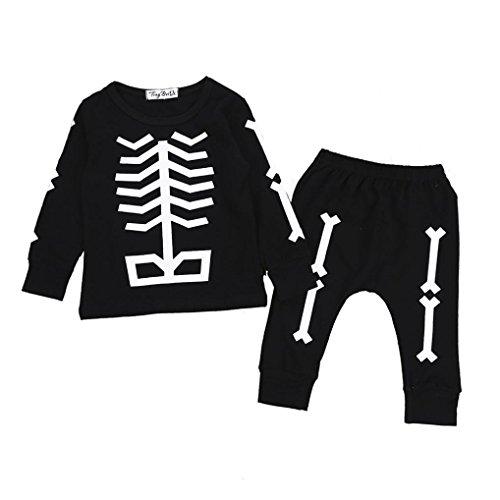 (Mingfa.y_Baby clothes Ausverkauf. Baby Jungen Halloween Kleidung Outfits Mingfa Kleinkinder Kinder Lange Ärmel Knochen Bedruckt Tops + Pants Set 2, Kinder, Schwarz, (24M) UK)