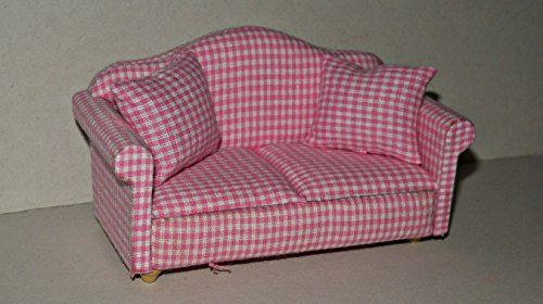 Preisvergleich Produktbild Sofa mit 2 Kissen 1162 rosa, 1:12 , Puppenstuben