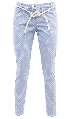 WILAREL 7000570005 Kocca Pantalone con cinturina Azzurro 32 Donna