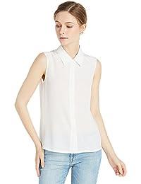 08dd364a289f2 LilySilk Seide Damen Hemdbluse Ärmellos Hemd mit Perlmutt-Knopfleiste 18  Momme Verpackung MEHRWEG