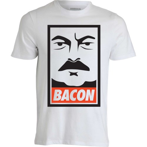 ron-swanson-parks-and-recreation-bacon-funny-weiss-herren-t-shirt-l