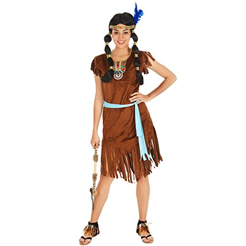 TecTake dressforfun Frauenkostüm Indianerin | Kleid + Gürtel | Indianer Cowboy Verkleidung (XL | Nr. 300624)