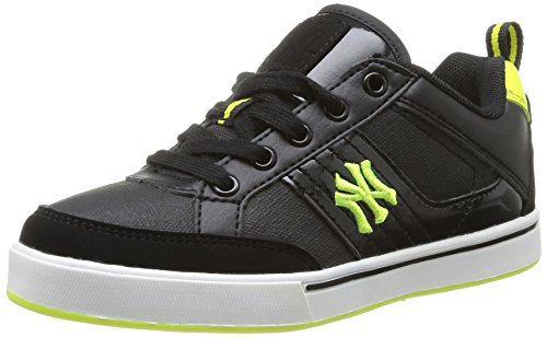 New York Yankees Sunya Low Lace, Jungen Sneaker Schwarz - Noir (Black/Fluo Yellow)