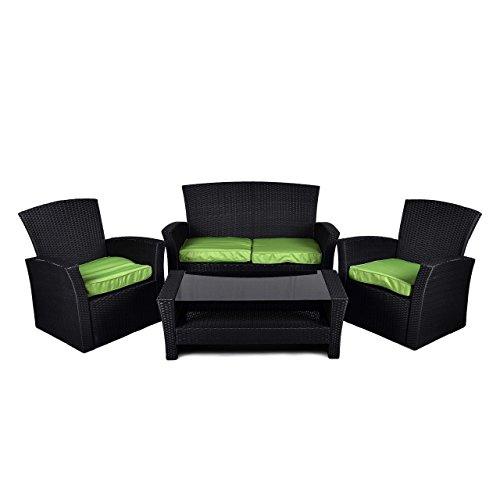 Rattan Set 4tlg mit Glastisch grün Garnitur Gartenmöbel Sitzgruppe Poly Rattan inklusive höhenverstellbare Füße und Sicherheitsglas 4-sitzer 4-teilig - 7