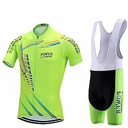 Immortal Sports Hombres Maillots de Bicicleta Jersey de Manga Corta + Pantalones Cortos Acolchados Ropa de Ciclismo Respirable Secado Rápido Cómodo