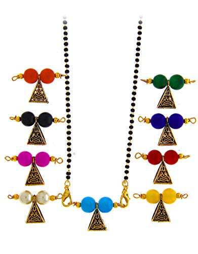 Anuradha Art Gold Tone Traditional 9 Colours of Changeable Mangalsutra/Locket Combo Set for Women