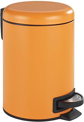 Wenko Kosmetik Treteimer Leman Orange-Mattiert Kosmetikeimer mit Tretmechanismus Fassungsvermögen 3 L Stahl 22.5 x 17 x 25 cm