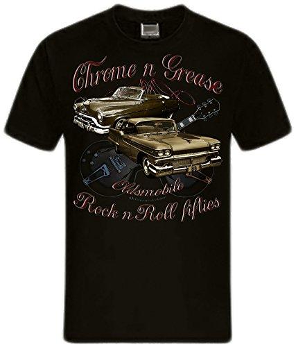 Shirtmatic Motor Guitars Chrome Grease Hot Rod Rock n Roll Rockabilly T-Shirt (XL, 50s Oldsmobile) -