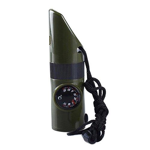 Geshiglobal 7 en 1 Camping de survie Boussole Thermomètre lampe de poche Loupe Sifflet Outil