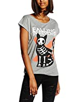 Plastic Head Women's Falling In Reverse Cat and Mouse GRST Banded Collar Short Sleeve T-Shirt, Grey, Size 8 (Manufacturer Size:Small)