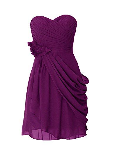 Dresstells, robe courte de demoiselle d'honneur mousseline avec fleurs Raisin
