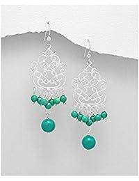 BrendaStyle Bijoux Boucles d'Oreilles Pour Femme En Argent 925/1000 Avec Turquoise