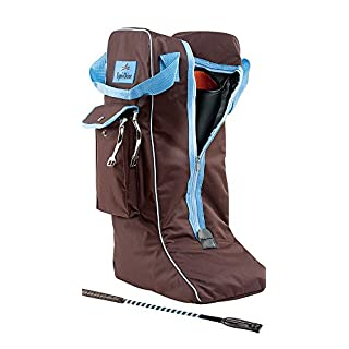 Boot Chocolate / Light Blue / Bag for Reitstiefeltasche / Riding / Stiefelbeutel Equitheme