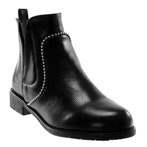 Angkorly - Damen Schuhe Stiefeletten - Chelsea Boots - Biker - Perle - Nieten - besetzt - elastisch Blockabsatz 3 cm - Schwarz BC390 T 40