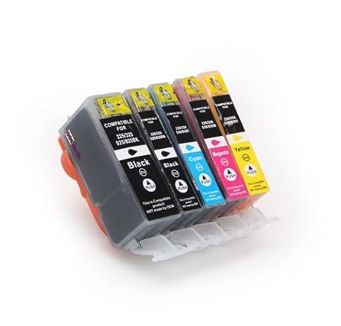 5er Set kompatible Druckerpatronen für CANON PGI-525 / CLI-526 mit CHIP und Füllstandsanzeige | je 1x BK/PBK/C/M/Y | ersetzt Patronen für Canon Pixma IP4850 IP4950 IX6550 MG5150 MG5250 MG5350 MG6150 MG6250 MG8150 MX885 MX715 MX895