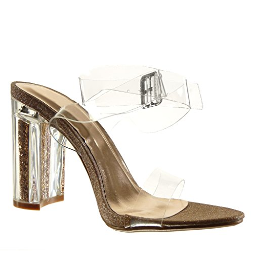 Angkorly Scarpe Da Donna Sandali - Sexy - Trasparente - Glitter - Tanga Alto Tacco 10 Cm Champagne