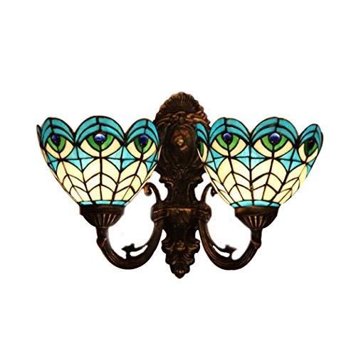 Tiffany-Art-Wandlampe, europäische Pfau-Feder-blaue Kunst-Glaswand-Lampe, Esszimmer-Schlafzimmer-Studiengang-klassische Wandleuchten yd&h (Farbe : B) -